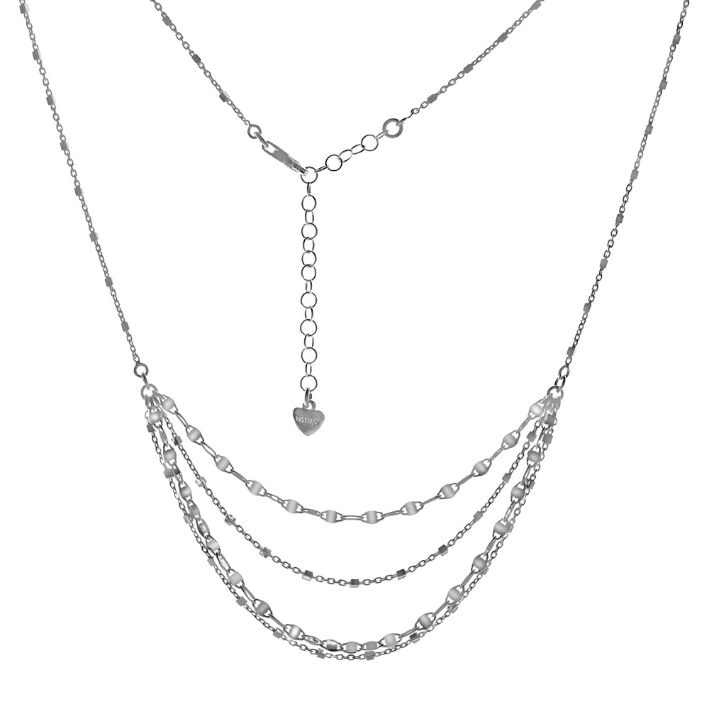 Italian Sterling Silver Fancy Multi Strands Necklace