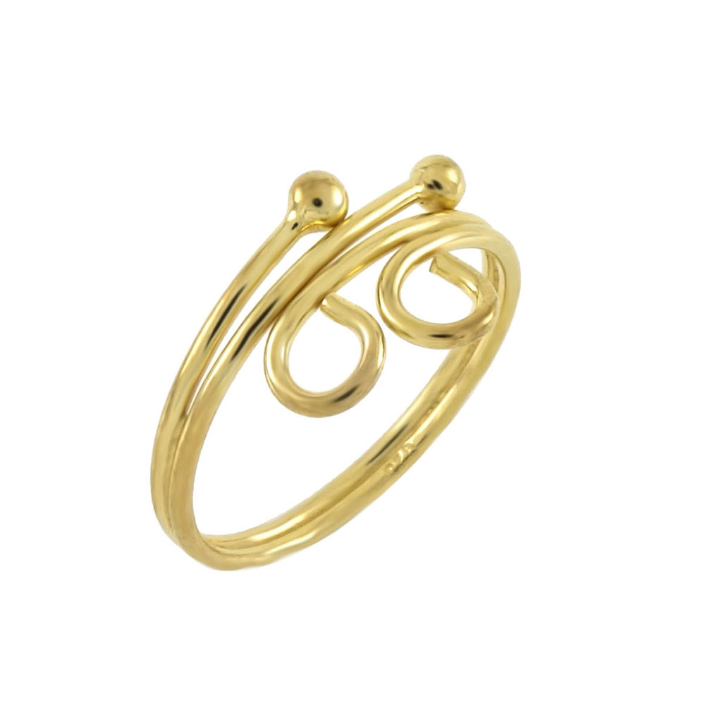 Sterling Silver Gold Plated Adjustable Toe Ring