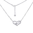 Sterling Silver Pave CZ Heart LOVE W. Flat Rolo Rhodium Necklace