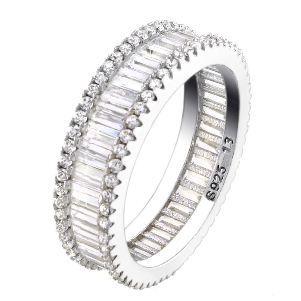 Sterling Silver Cubic Zirconia Baguette Band Ring