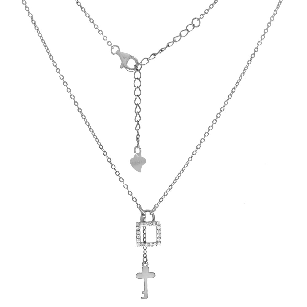 Sterling Silver CZ Lock & Key Pendant Rhodium Necklace