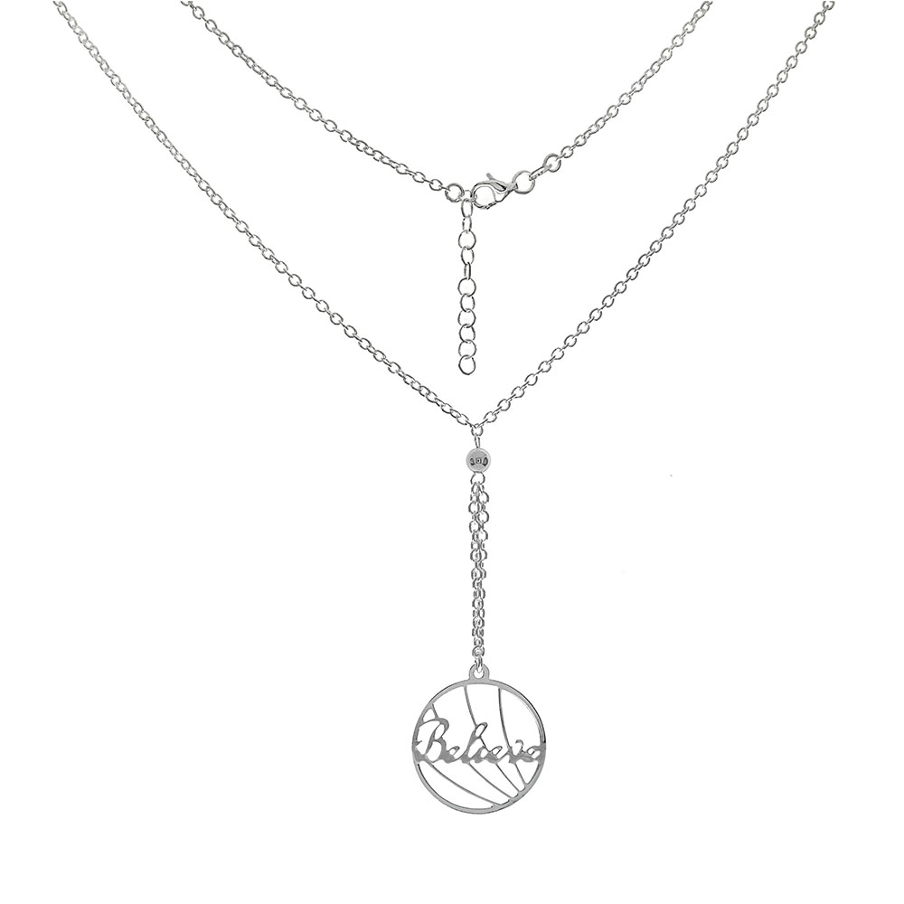 Italian Sterling Silver Rolo Chain W. BELIEVE Laser Cut Pendant Necklace