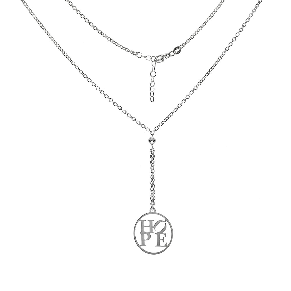 Sterling Silver Crown LOVE W. Circle CZ Pendant Necklace