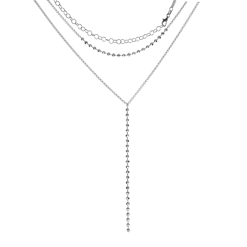 Italian Sterling Silver Double Layered Lariat Necklace