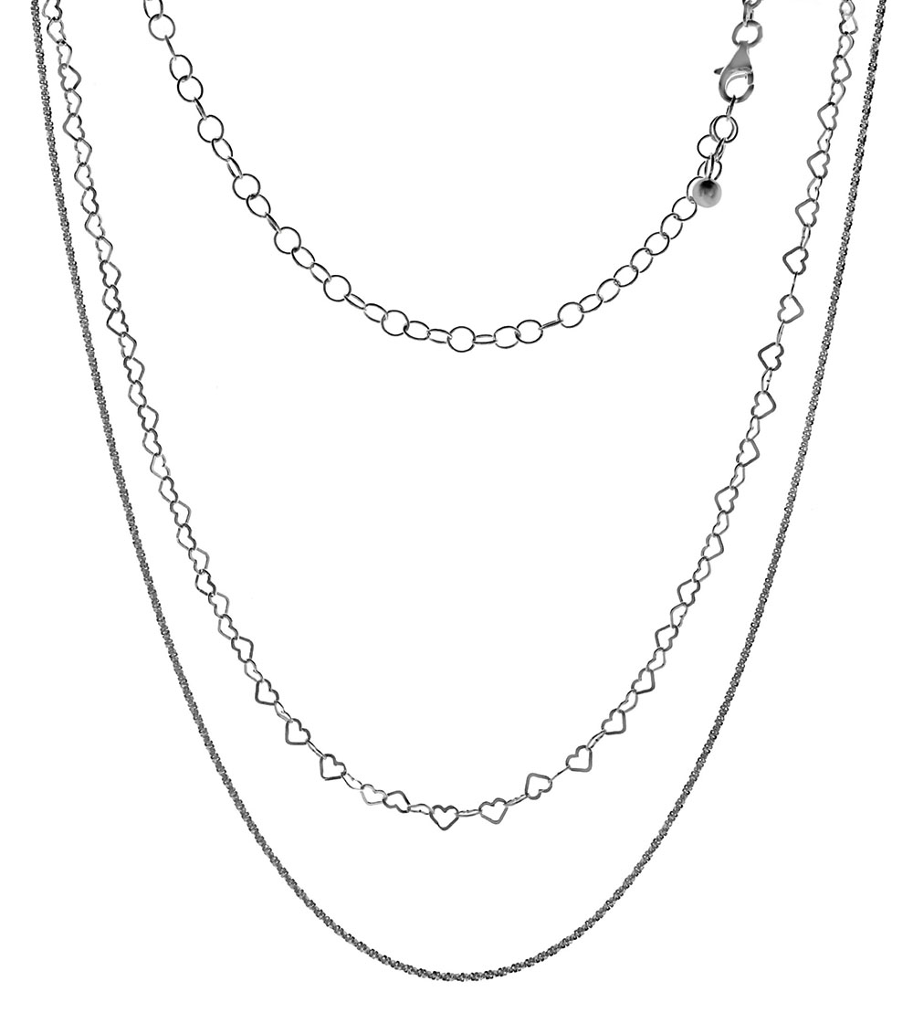 Italian Sterling Silver Double Layered Fancy Chain Necklace