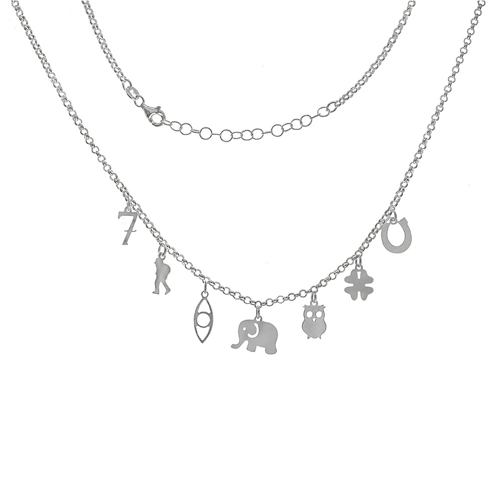 Italian Sterling Silver Rolo Chain W. Lucky Charms Necklace