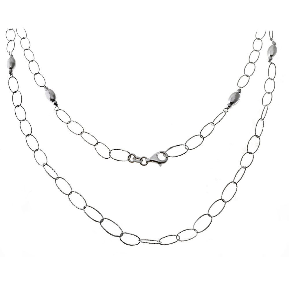 Italian Sterling Silver Fancy Oval Rolo Long Rhodium Necklace