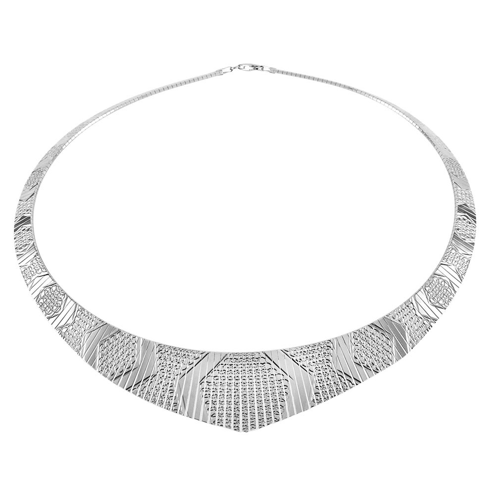 Italian Sterling Silver Fancy Cleopatra Necklace