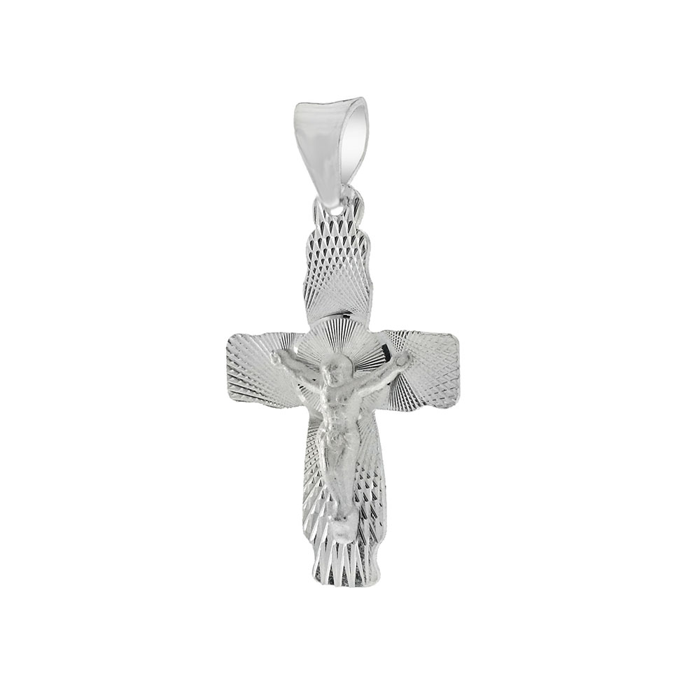 Sterling Silver Crucifix D/C Cross Pendant