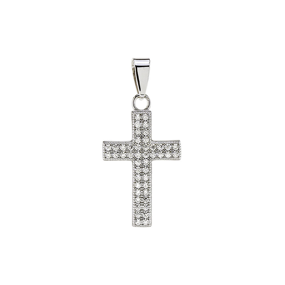 Sterling Silver Micro Pave Cubic Zirconia Cross Pendant