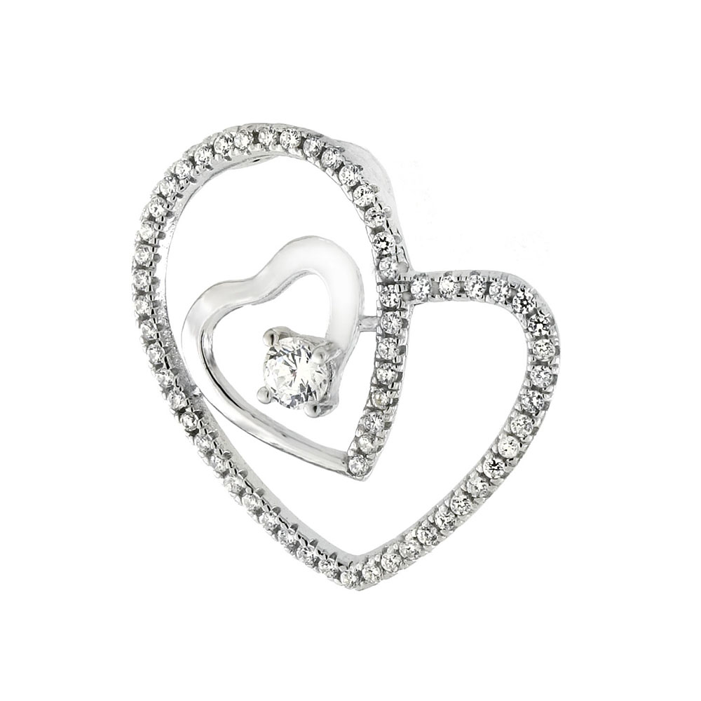 Sterling Silver Micro Pave CZ Floating Heart Pendant