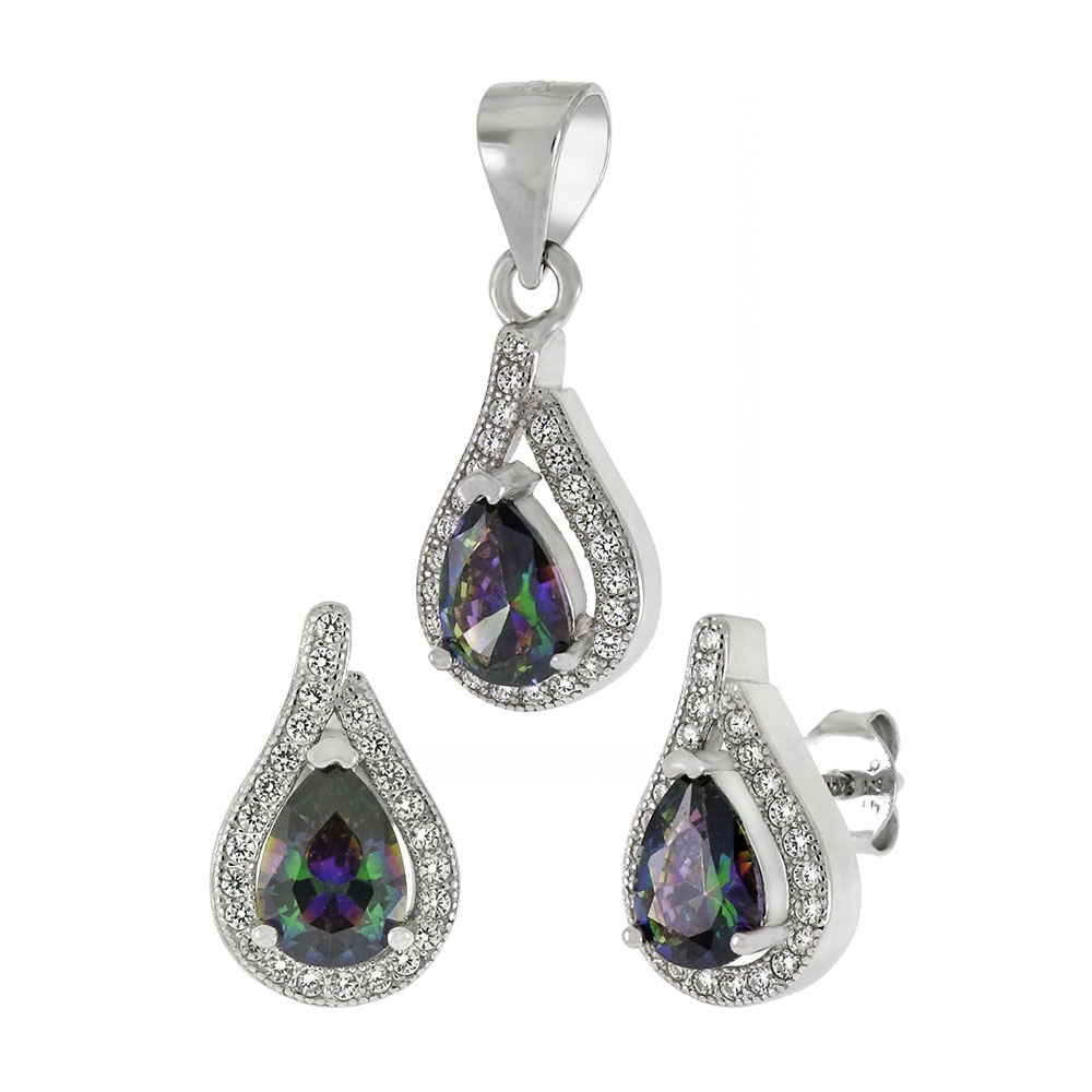 Sterling Silver Simulated Mystic Topaz CZ Earrings & Pendant Set