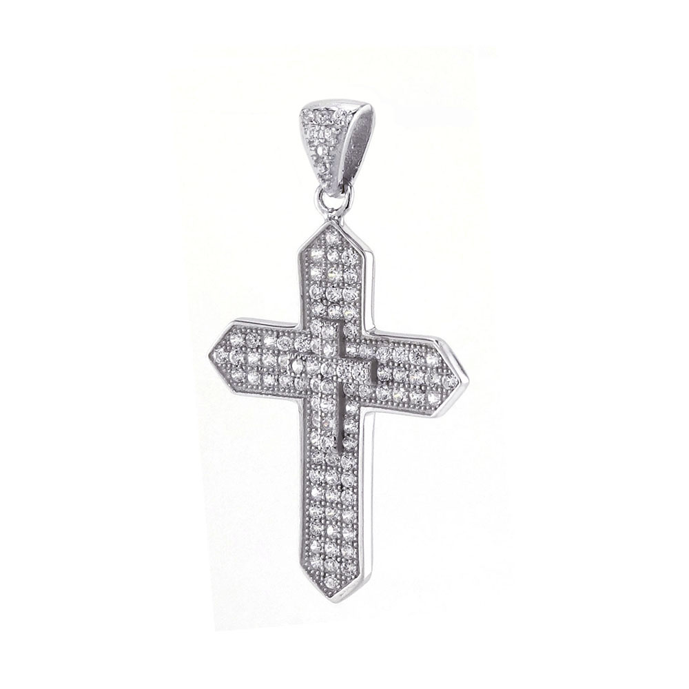 Sterling Silver Pave Cubic Zirconia Cross Pendant