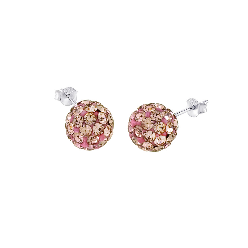 Sterling Silver Pink Crystal Ball Stud Earrings