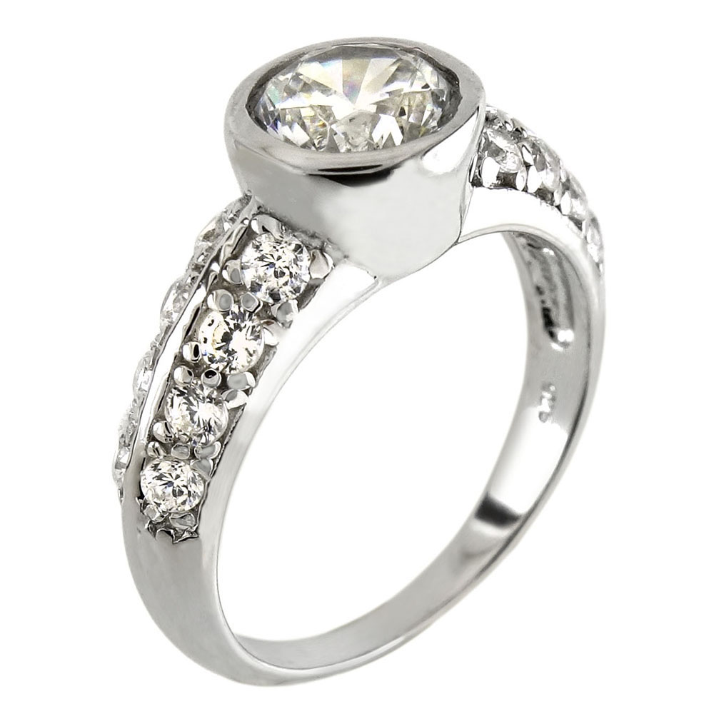 Sterling Silver Bezel Engagement Ring