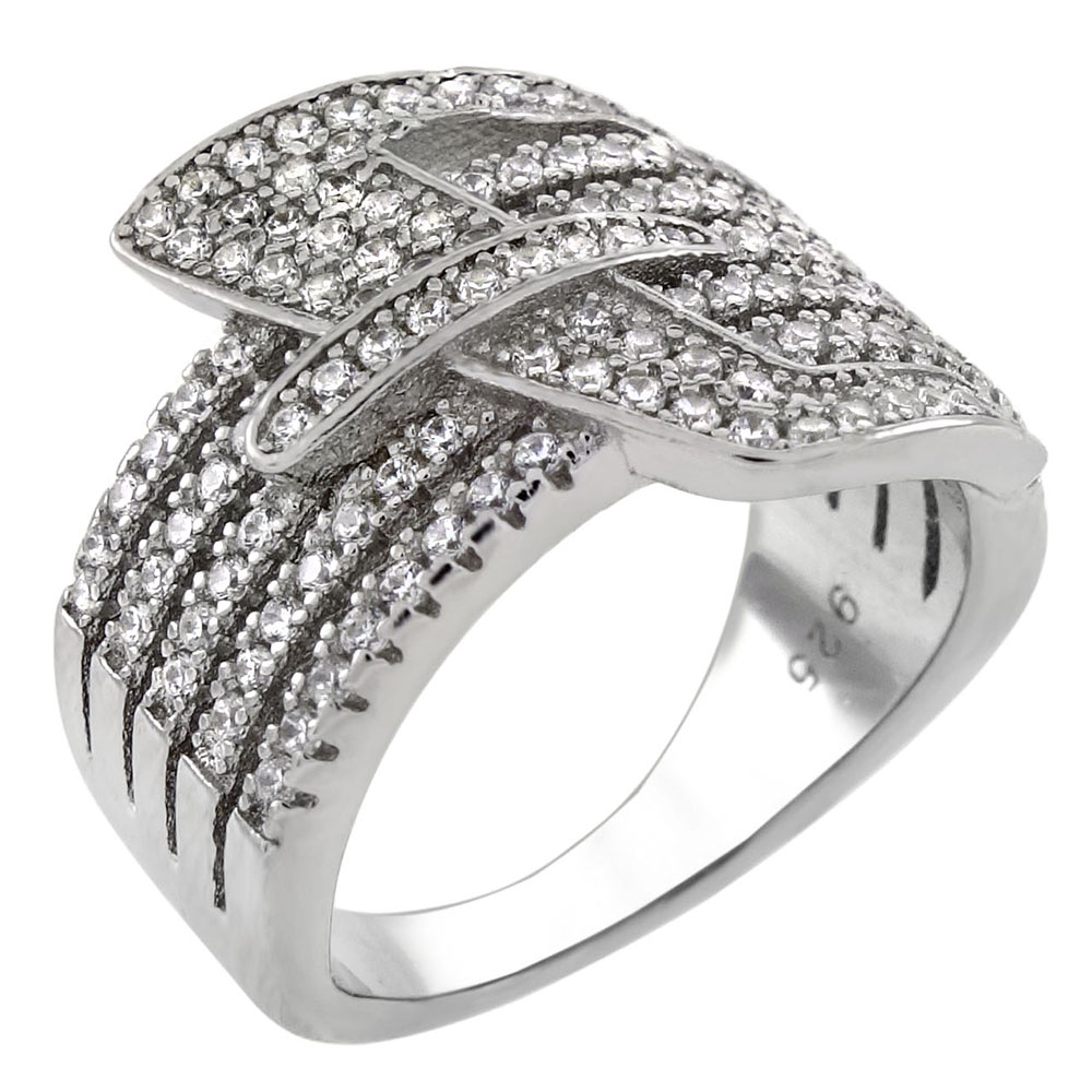 Sterling Silver Belt Buckle Pave CZ Ring