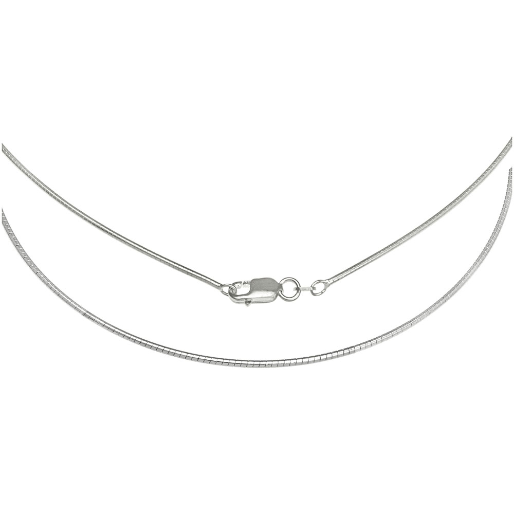 Sterling Silver 1.2MM Round Omega Necklace