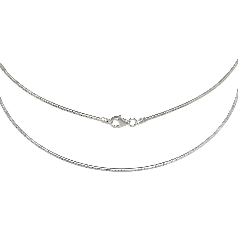 Sterling Silver Round Omega 1.5MM Necklace