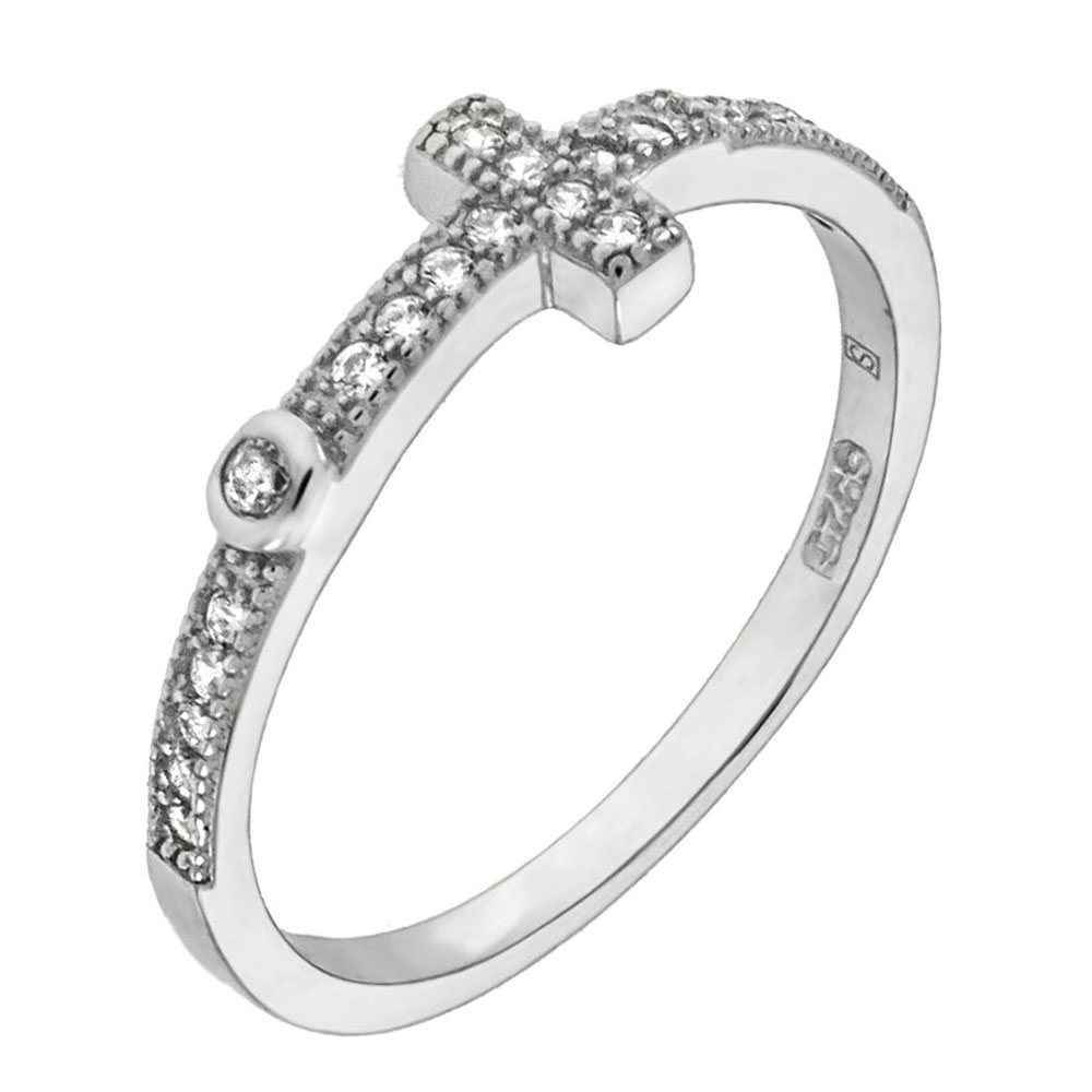 Sterling Silver Cubic Zirconia Pave Cross Ring