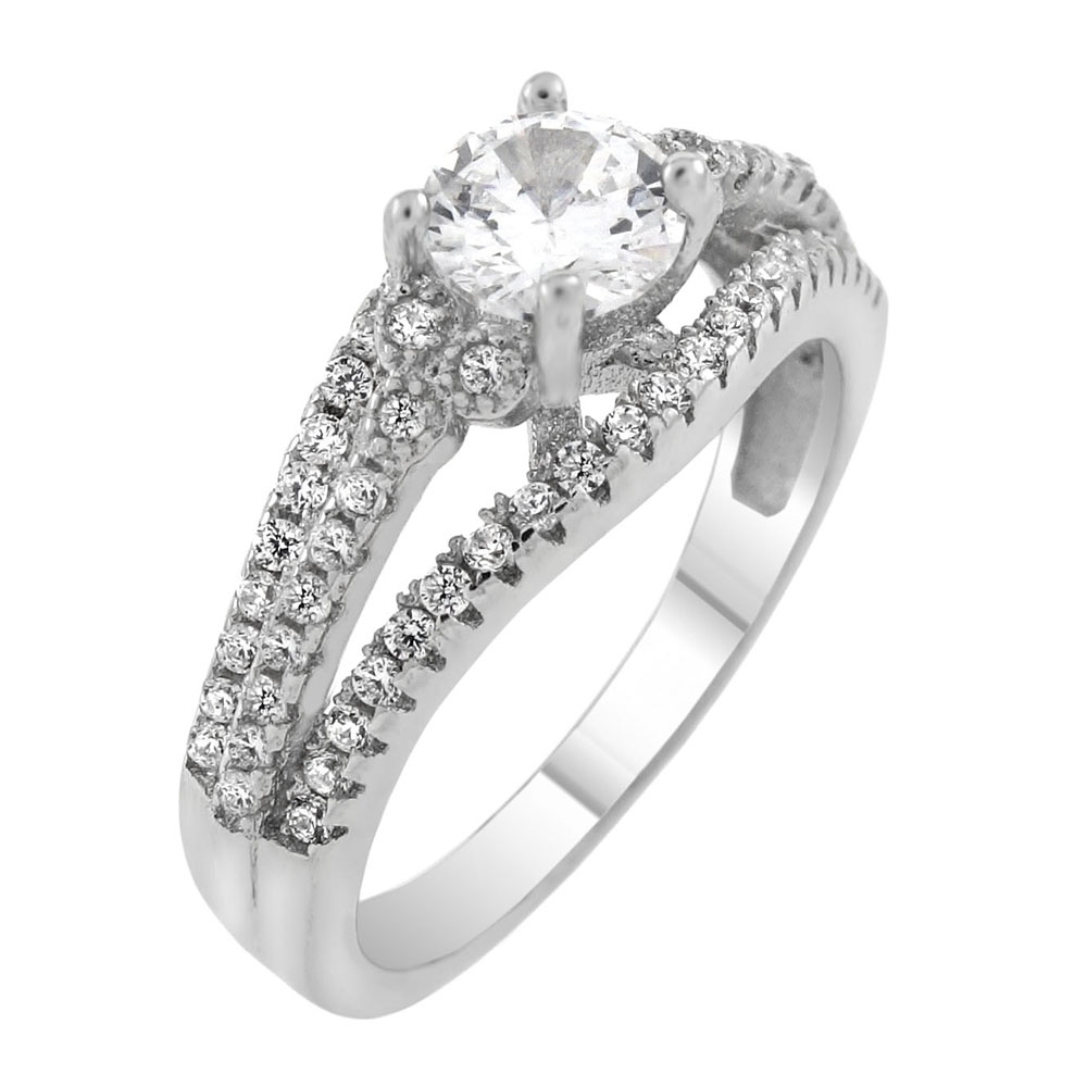 Sterling Silver 5mm Round Cubic Zirconia Engagement Ring