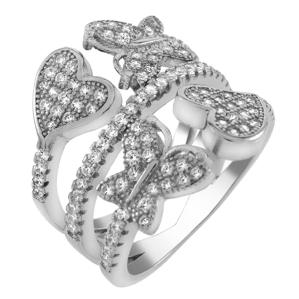 Sterling Silver Heart & Butterfly Pave CZ Ring