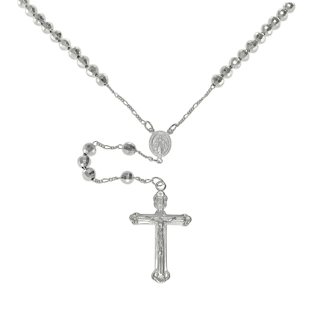 Sterling Silver 6mm Bead Diamond Cut Rosary Necklace