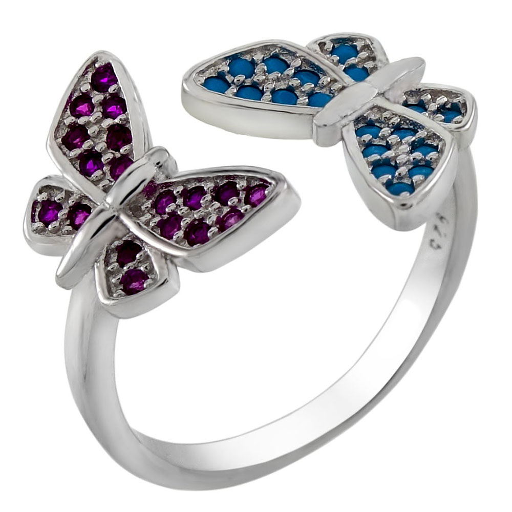 Sterling Silver Bi-Color CZ Butterfly Adjustable Ring