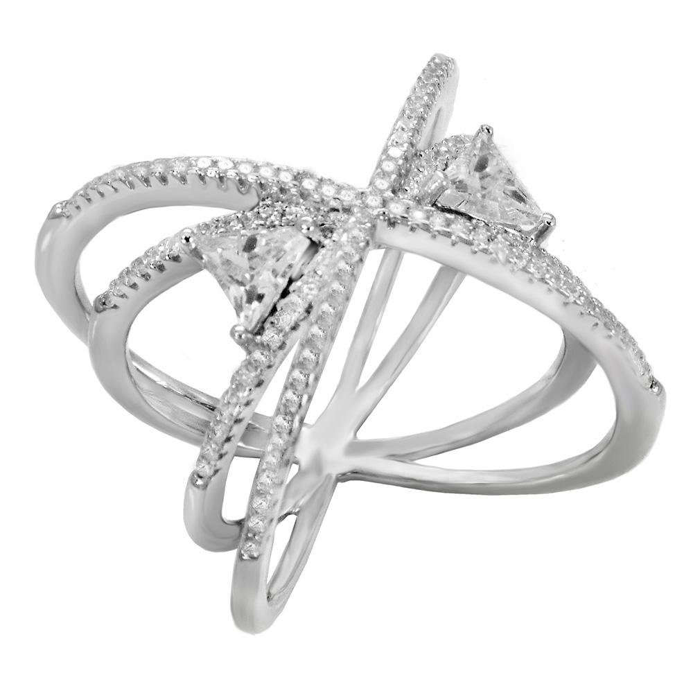 Sterling Silver Pave CZ Double Criss Cross Ring