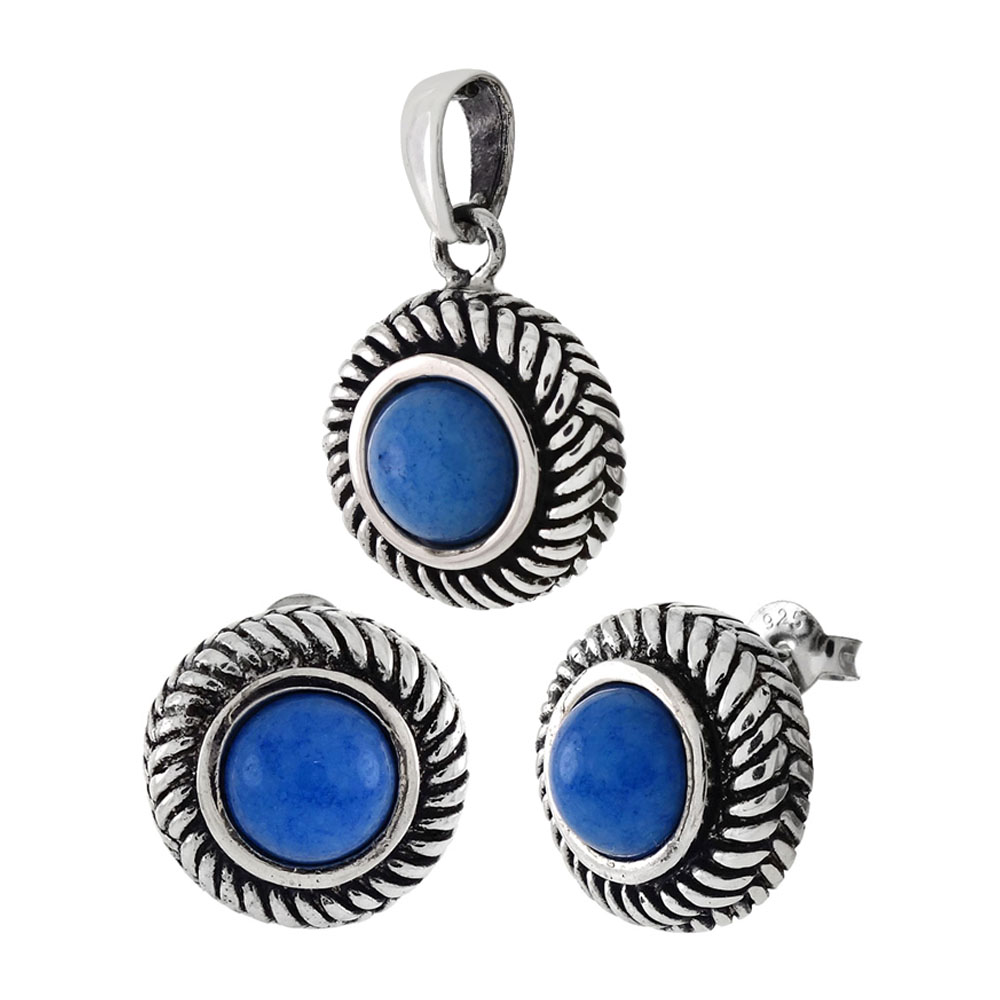 Sterling Silver Cabochon Blue Earrings & Pendant Set