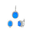 Sterling Silver Lab Opal CZ Earrings & Pendant Set
