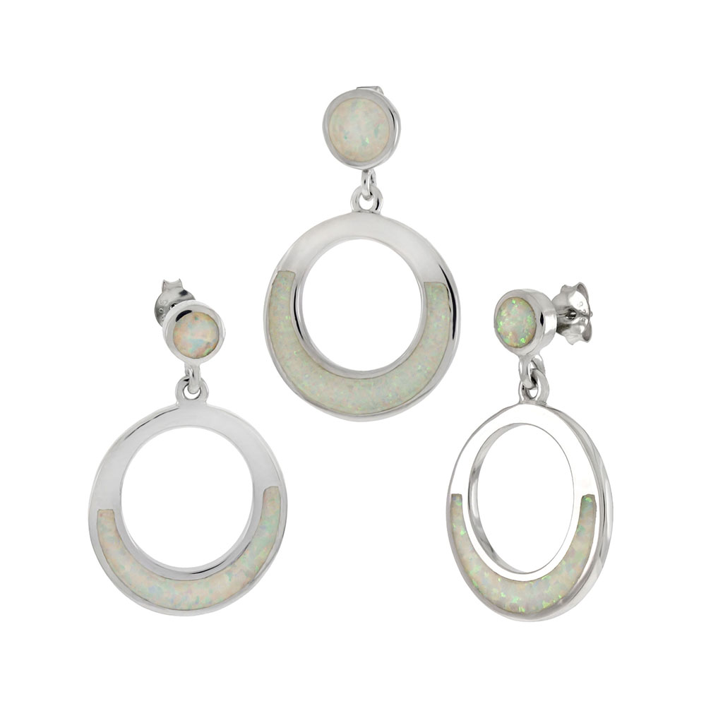 Sterling Silver Simulated White Opal Circle Earrings & Pendant Set