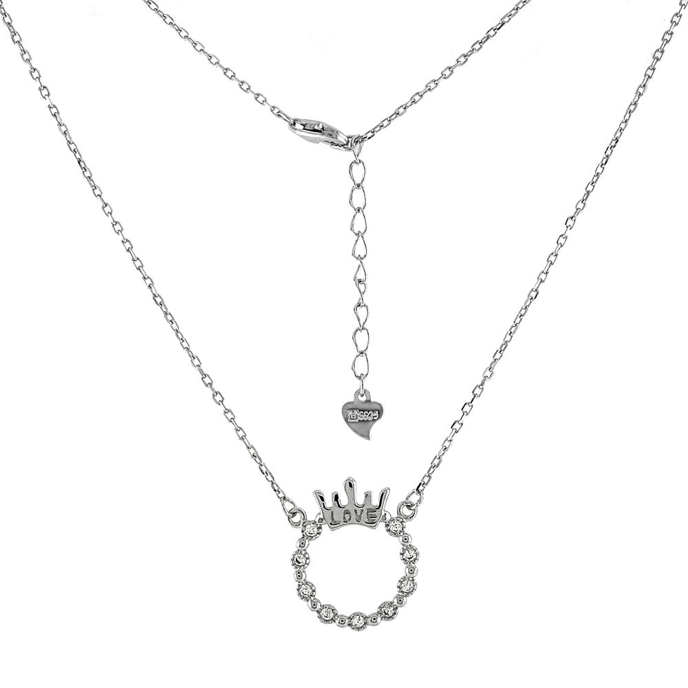 Sterling Silver LOVE Crown Circle CZ Pendant Necklace
