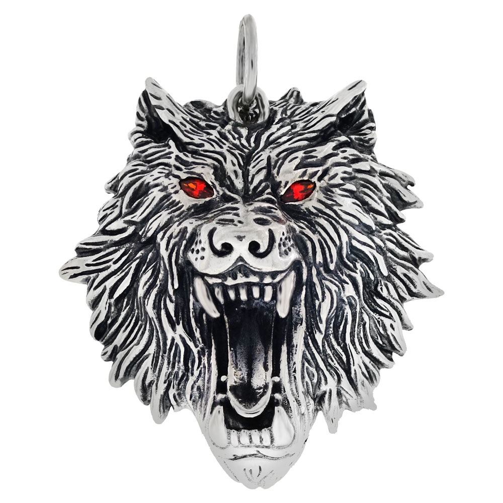 Sterling Silver Wolf Head W. Red Eyes Oxidized Pendant