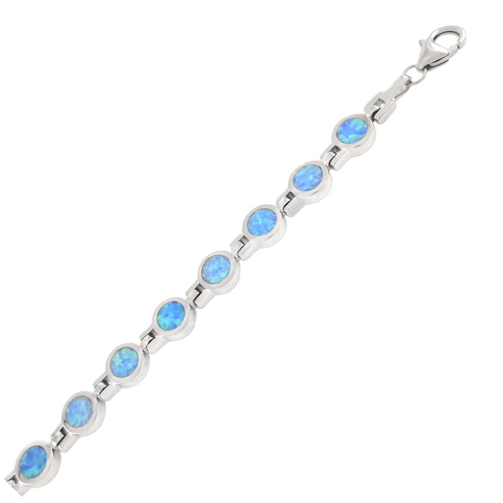 Sterling Silver Round Simulated Blue Opal Bracelet