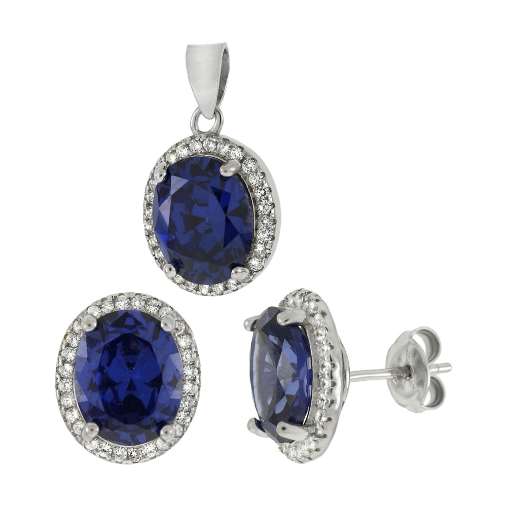 8mmX10mm Oval Simulated Tanzanite & CZ Sterling Silver Set