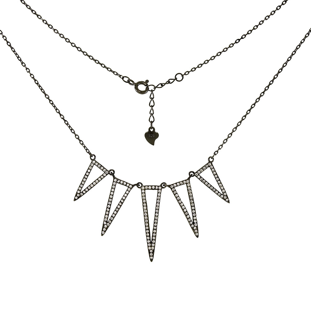 Sterling Silver Black Rhodium W. White Cubic Zirconia Necklace