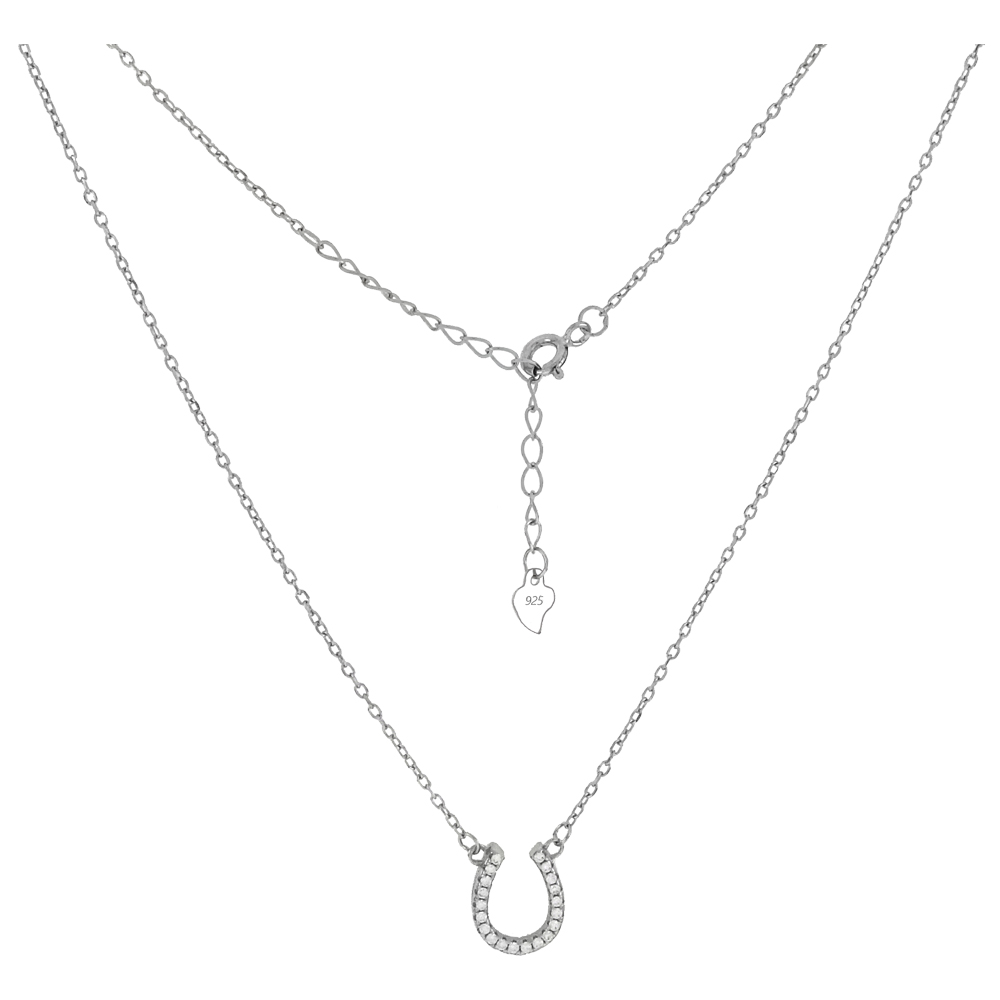 Sterling Silver Pave CZ Horseshoe Rhodium Pendant Necklace