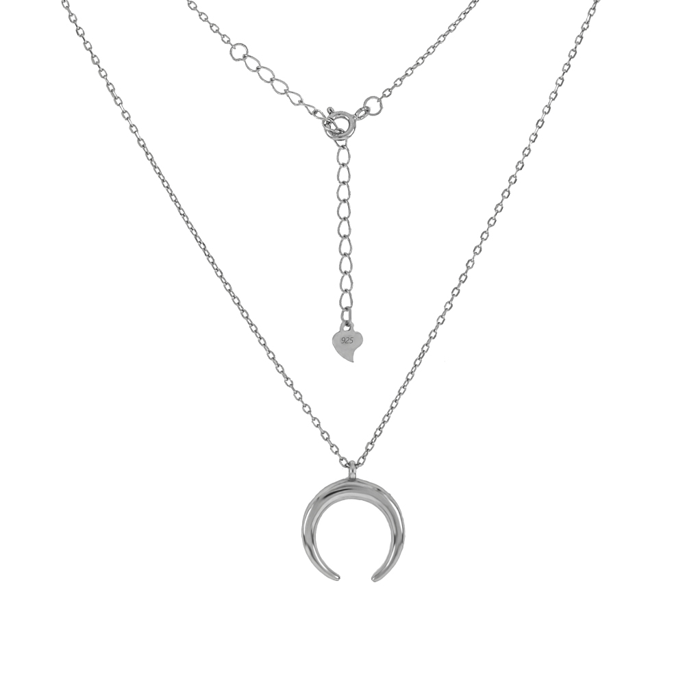 Sterling Silver D/C Cable Chain W. Crescent Moon Pendant Rhodium Necklace
