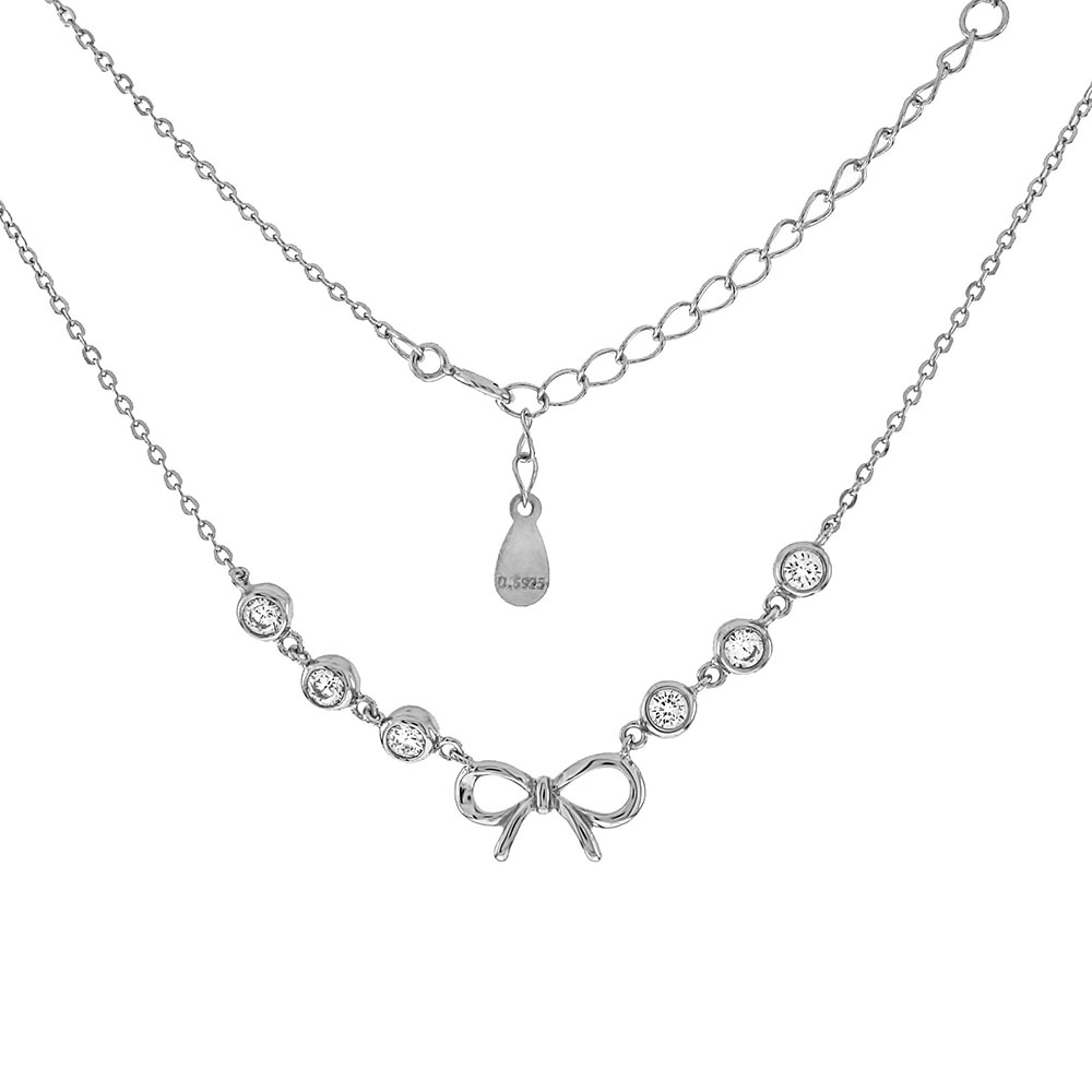 Sterling Silver Ribbon Bow W. Round Bezel CZ Rhodium Necklace