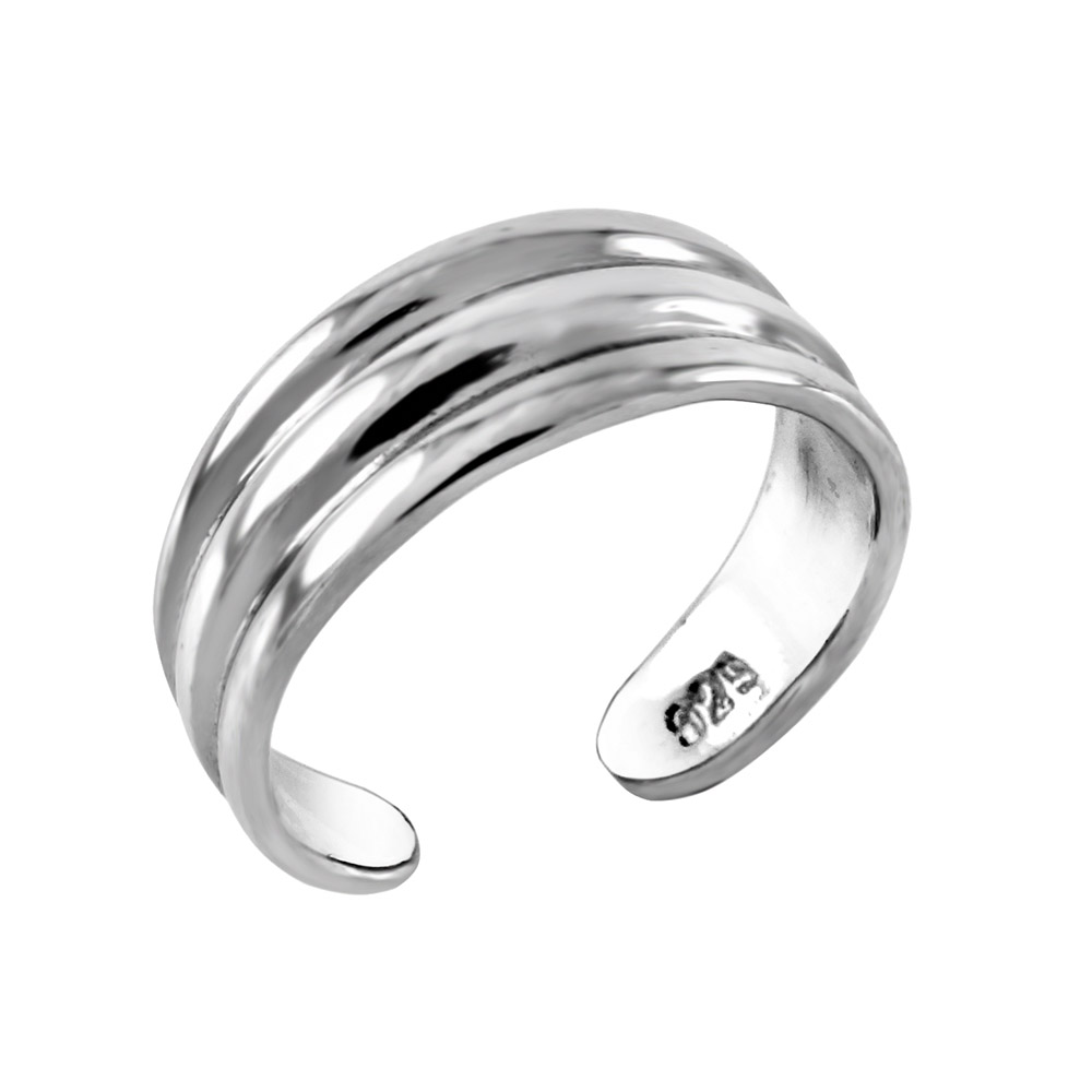 Sterling Silver 3 Lines Toe Ring