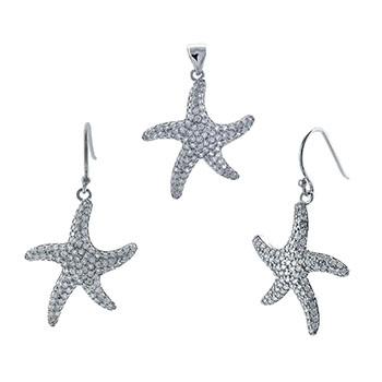 Sterling Silver Cubic Zirconia Star Fish Set