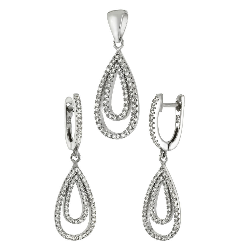 Sterling Silver CZ Micro Pave Earrings & Pendant Set