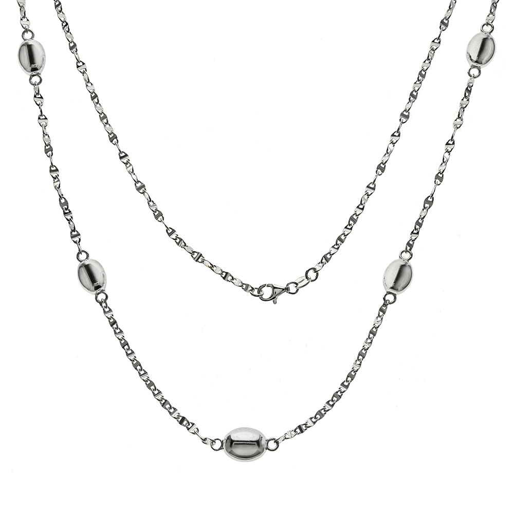 Italian Sterling Silver Fancy Marina D/C Long Necklace