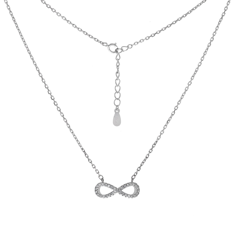 Sterling Silver Infinity CZ Rhodium Pendant Necklace
