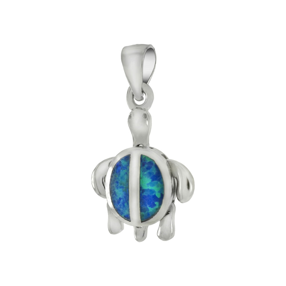 Sterling Silver Simulated Blue Opal Movable Sea Turtle Pendant
