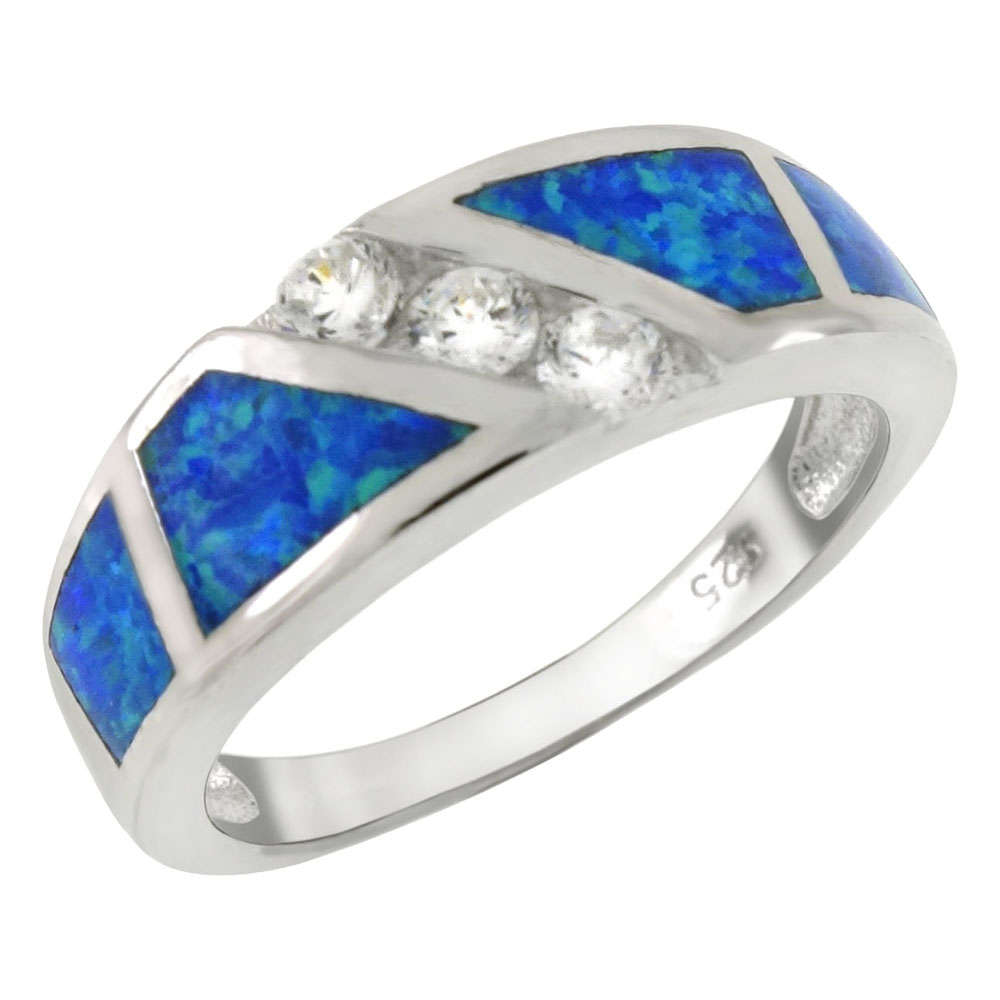 Sterling Silver Simulated Blue Opal W. CZ Band Ring