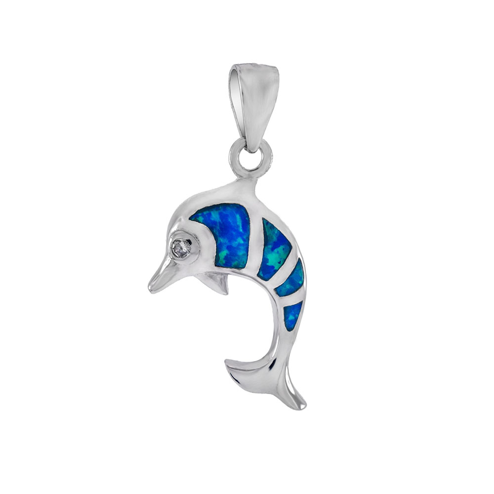 .925 Sterling Silver Simulated Blue Opal CZ Dolphin Pendant