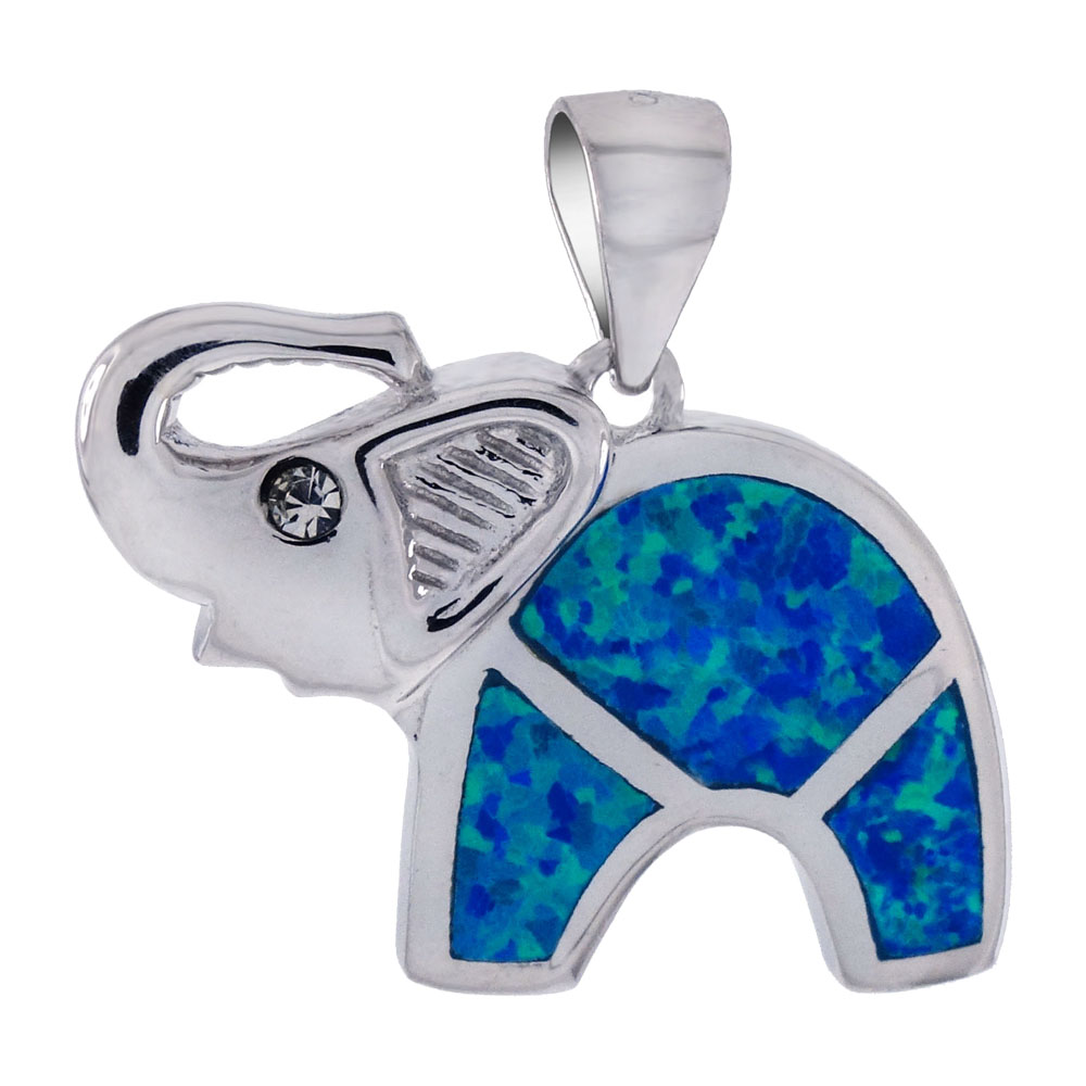 Sterling Silver Simulated Blue Opal Elephant Pendant