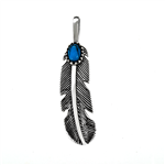 .925 Sterling Silver Feather W. Simulated Turquoise Pendant