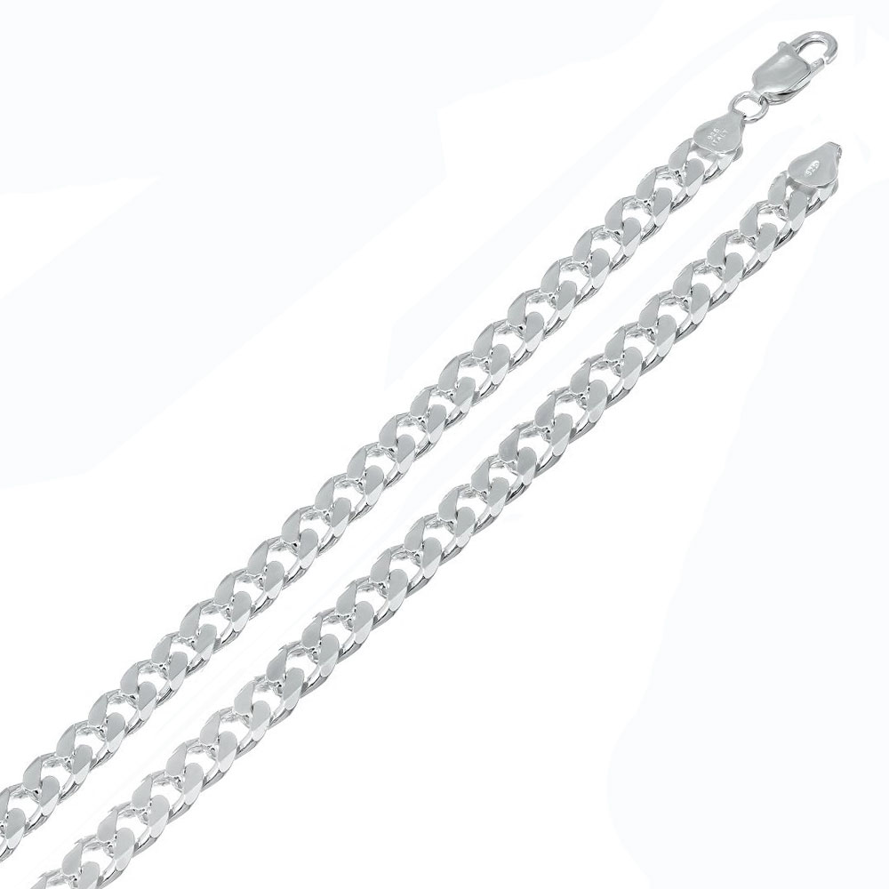 Italian Sterling Silver 4mm Flat Curb Chain